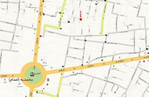 کروکی آدرس تولیدی جوراب دیپ روی نقشه